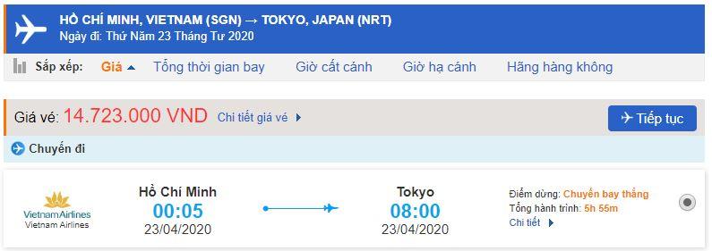 Giá vé máy bay từ TPHCM đi Nhật Bản