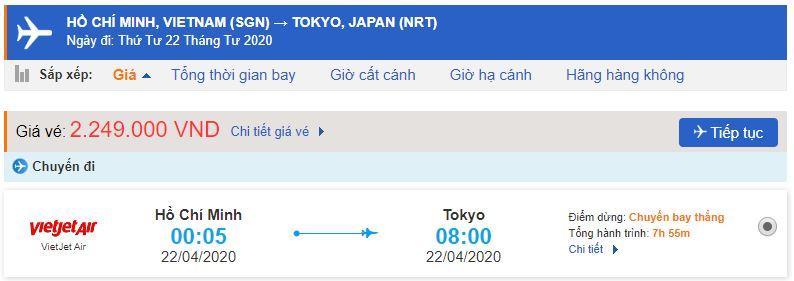 Giá vé máy bay TPHCM đi Tokyo