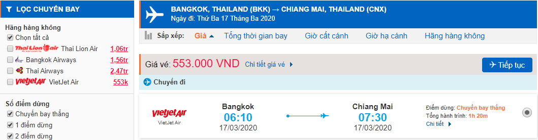 Vé máy bay từ BangKok đi Chiang Mai