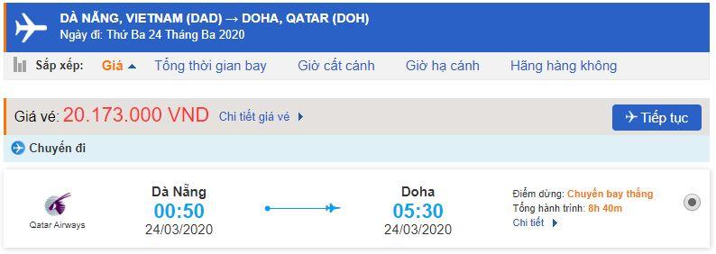 Vé máy bay từ Đà Nẵng đi Qatar