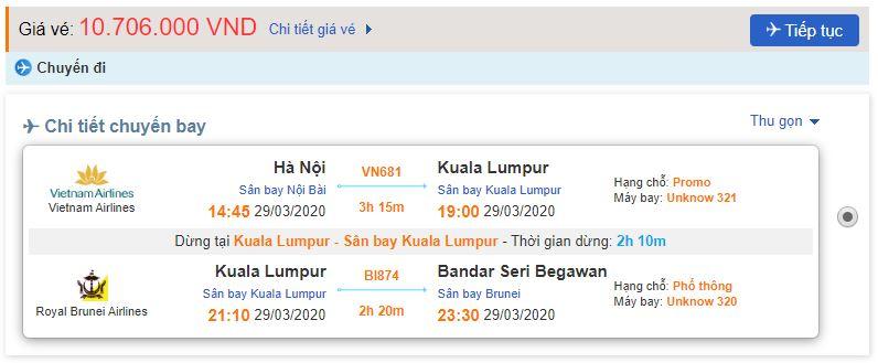 Vé máy bay từ Hà Nội đi Bandar Seri Begawan
