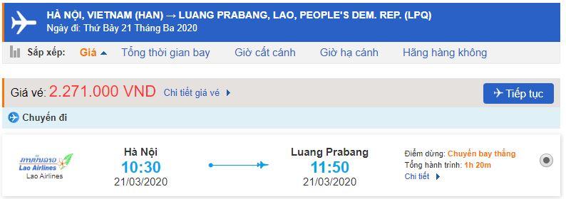 Vé máy bay đi Luang Prabang Lao Airlines