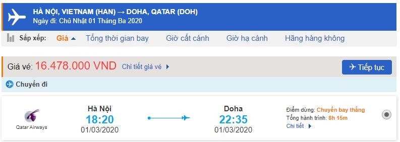 Giá vé máy bay đi Doha Qatar Airways