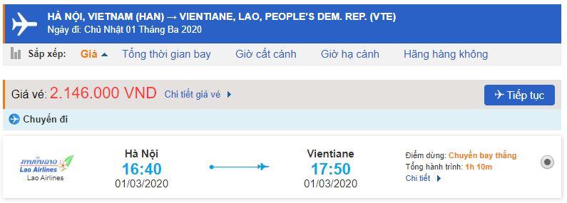 Giá vé máy bay Việt Nam - Lào của Lao Airlines
