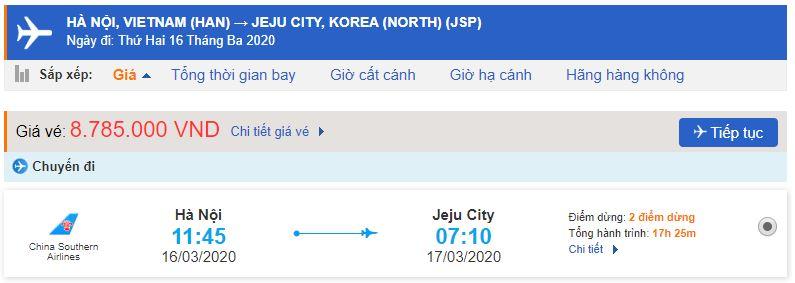 Vé máy bay từ Hà Nội đi Jeju