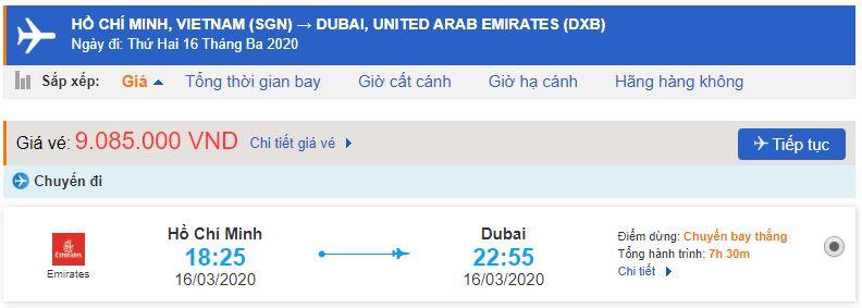 Vé máy bay Emirates đi Dubai bao nhiêu tiền?