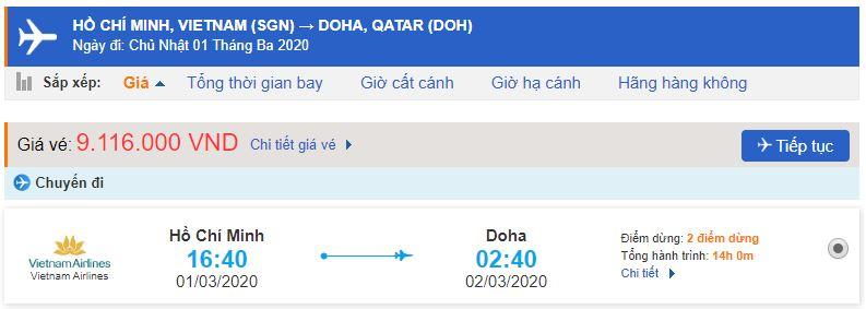 Vé máy bay đi Qatar Vietnam Airlines