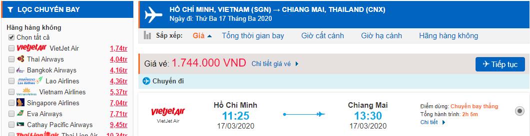Vé máy bay đi Chiang Mai Vietjet Air