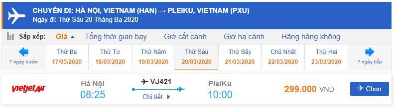 Vé máy bay Hà Nội đi Pleiku Vietjet