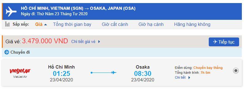 Giá vé máy bay đi Osaka