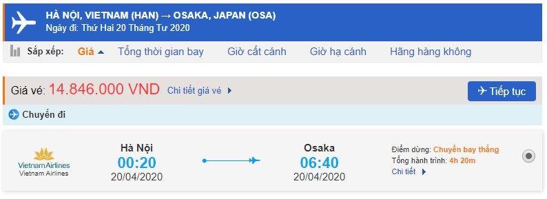Giá vé máy bay đi Nhật Bản Vietnam Airlines