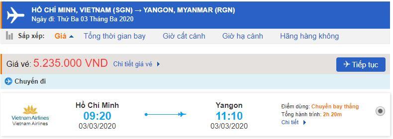 Vé máy bay từ TPHCM đi Yangon