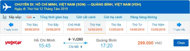 Vé máy bay Đồng Hới Vietjet Air từ Sài Gòn