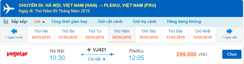 Mua vé máy bay đi Pleiku Vietjet
