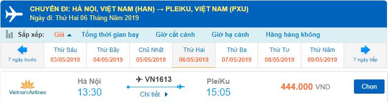 Giá vé máy bay đi Pleiku từ Hà Nội