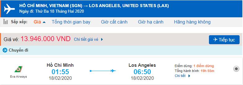 Giá vé máy bay Hồ Chí Minh – Los Angeles