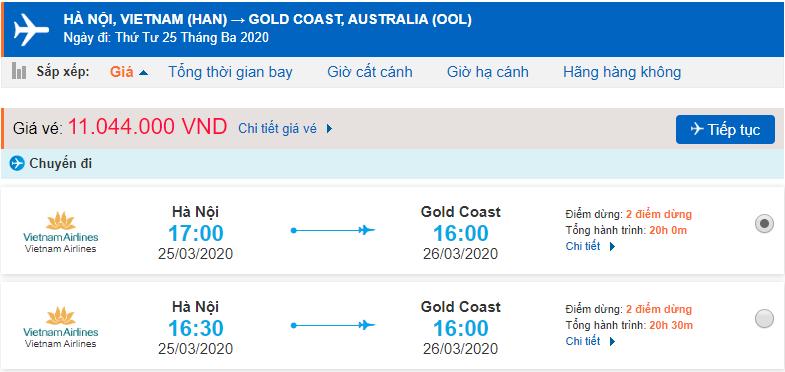 Giá vé máy bay đi Gold Coast Vietnam Airlines