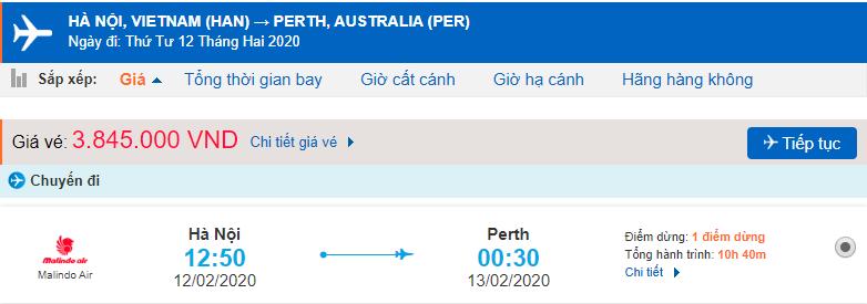 Giá vé máy bay từ Hà Nội đi Perth