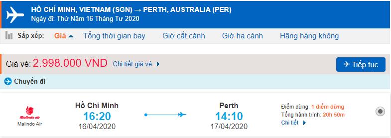 Giá vé máy bay từ HCM đi Perth