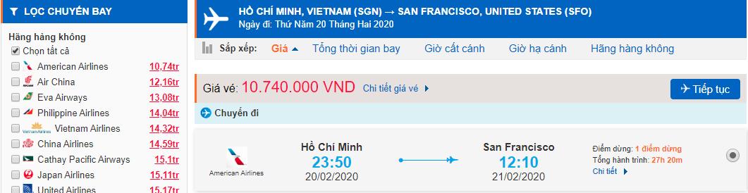 Vé máy bay TPHCM đi San Francisco