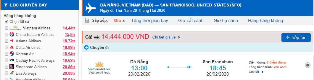Vé máy bay Đà Nẵng đi San Francisco