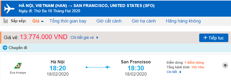 Vé máy bay đi Califorina Mỹ