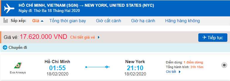 Vé máy bay từ Sài Gòn đi Mỹ New York
