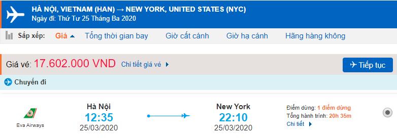 Vé máy bay đi New York giá rẻ từ Eva Air