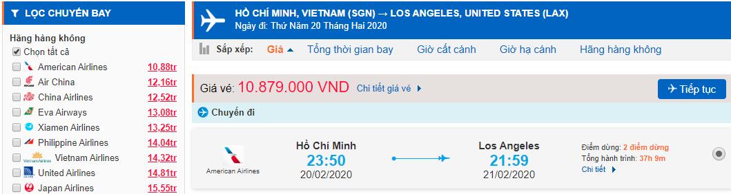 Vé máy bay từ TPHCM đi Los Angeles