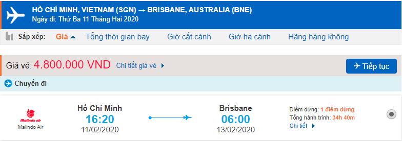 Vé máy bay từ TPHCM đi Brisbane
