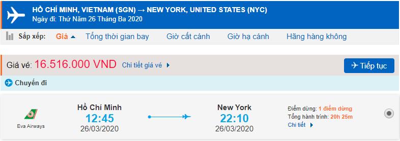 Vé máy bay từ TPHCM đi New York