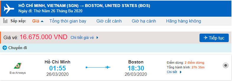 Vé máy bay từ TPHCM đi Boston
