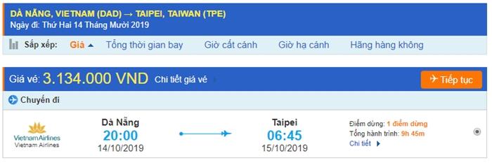Vé máy bay Đà Nẵng đi Đài Bắc