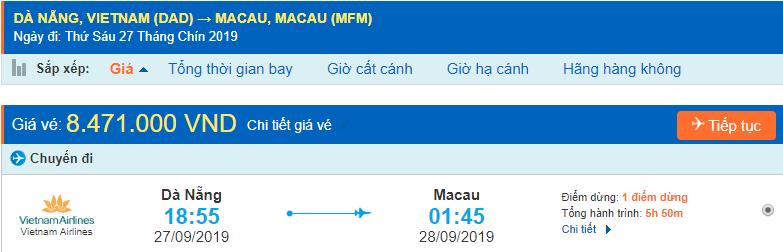 Vé máy bay đi Macau từ Đà Nẵng