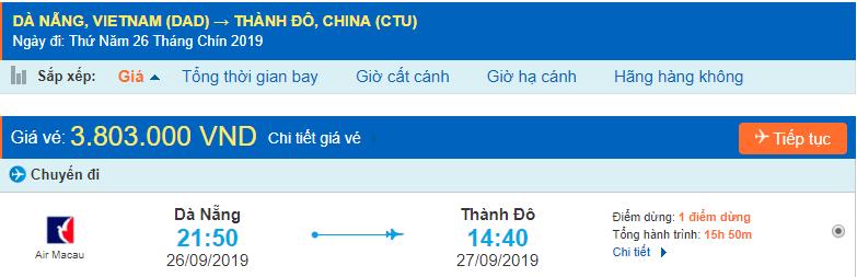 Vé máy bay đi Thành Đô từ Đà Nẵng