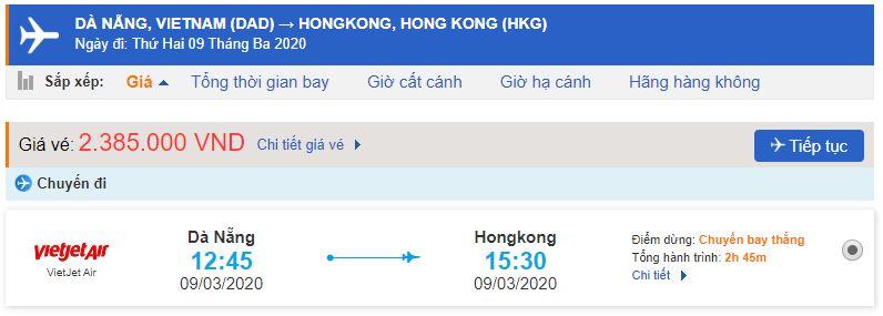 Giá vé máy bay Đà Nẵng Hong Kong