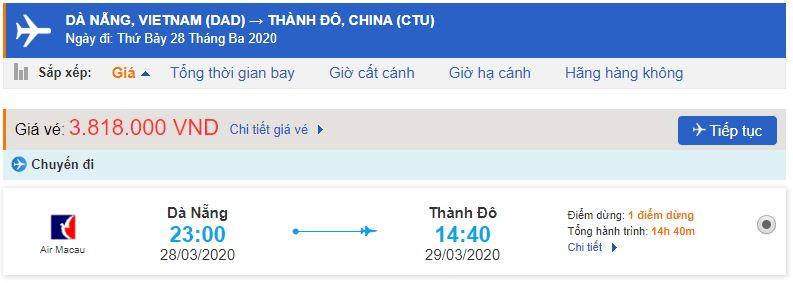 Vé máy bay Đà Nẵng đi Thành Đô