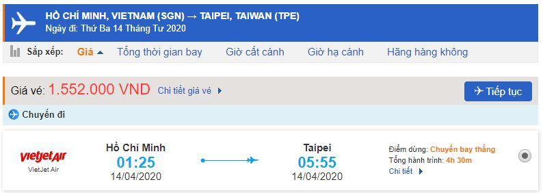 Giá vé máy bay đi Đài Loan Vietjet Air