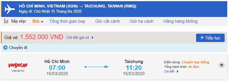 Vé máy bay TPHCM đi Đài Trung
