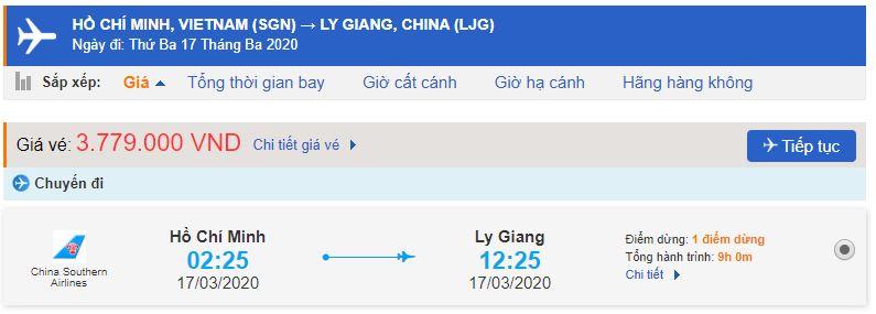 Vé máy bay đi Vân Nam Lệ Giang từ Hồ Chí Minh