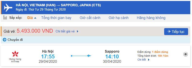 Giá vé máy bay đi Hokkaido bao nhiêu tiền?