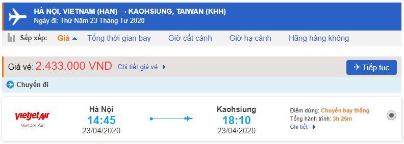Giá vé máy bay đi Cao Hùng – Đài Loan