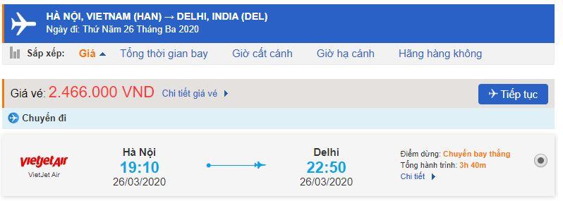Giá vé máy bay Hà Nội đi Ấn Độ Vietjet Air