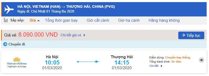 Giá vé máy bay Vietnam Airlines đi Thượng Hải