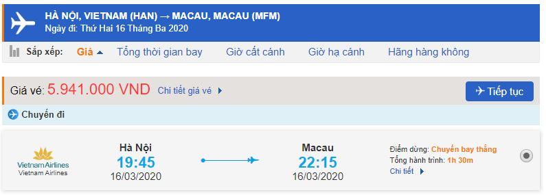 Giá vé máy bay đi Macao Vietnam Airlines