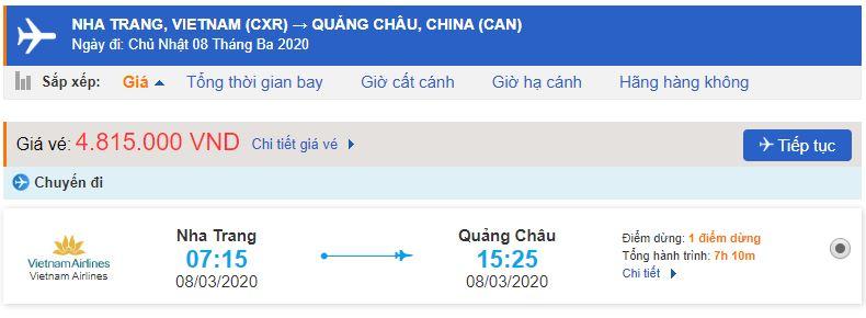 Giá vé máy bay từ Nha Trang đi Quảng Châu