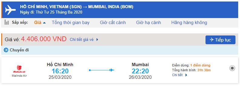 Vé máy bay từ TPHCM đi Mumbai