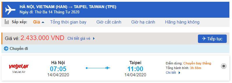 Giá vé Vietjet đi Đài Loan từ Hà Nội
