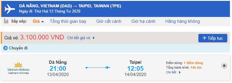 Vé máy bay đi Đài Bắc từ Đà Nẵng