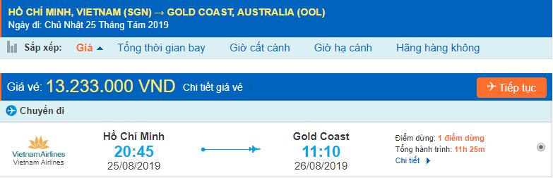 Vé máy bay đi Gold Coast từ Hồ Chí Minh